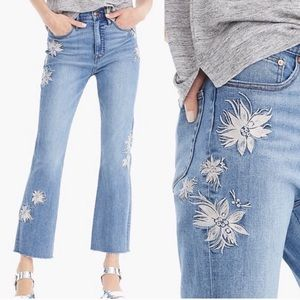 Point Sur Kick Out Crop Floral Embroidered Jeans